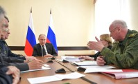 Russian President Vladimir Putin presides a meeting on relief efforts following a fire in Kemerovo. March 27, 2018. Kemerovo. Presidency of Russia photo.